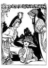 Kleurplaat 3 vrouwen met hoeden