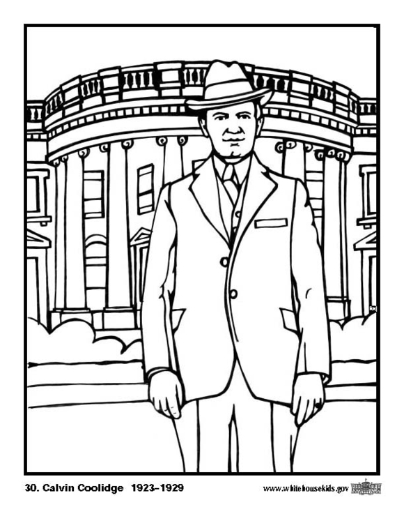 Kleurplaat 30 Calvin Coolidge Afb 12597