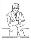 Kleurplaat 35 John Fitzgerald Kennedy