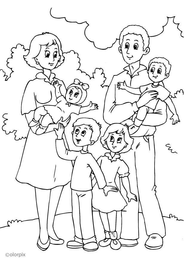 kleurplaat 4 nieuwe familie bij moeder gratis