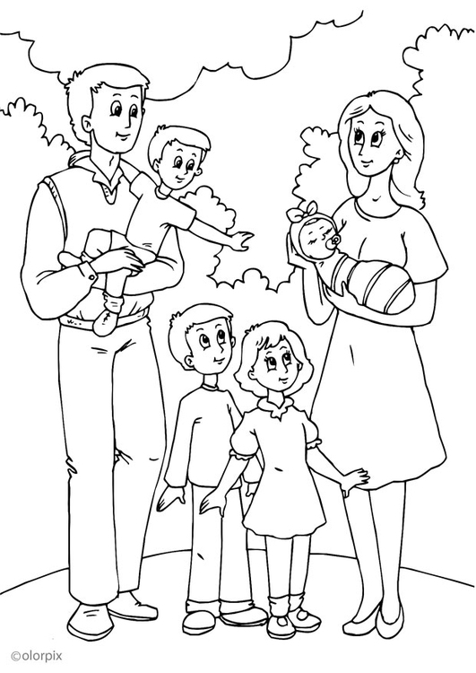 kleurplaat 5 nieuwe familie bij vader gratis kleurplaten