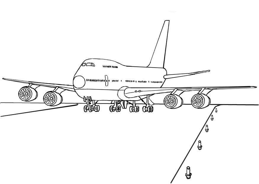 Kleurplaat 747 Vliegtuig