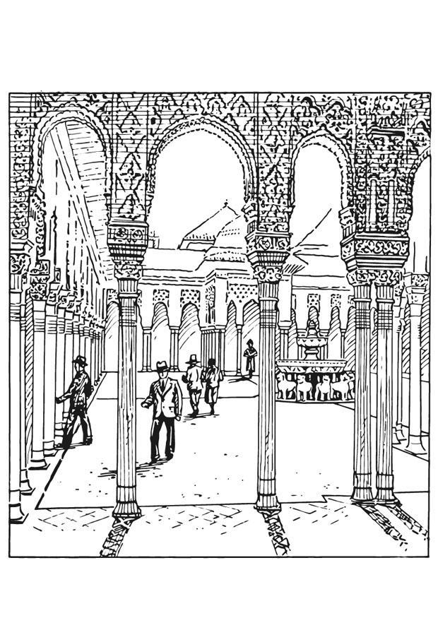 Kleurplaat Fabriek Kleurplaat Alhambra Spanje Afb 13211