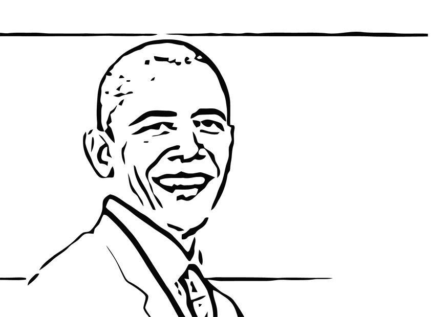 Kleurplaat Barack Obama Afb 12689
