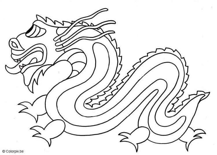 Kleurplaten Chinese Draak.Kleurplaat Chinese Draak Afb 5662