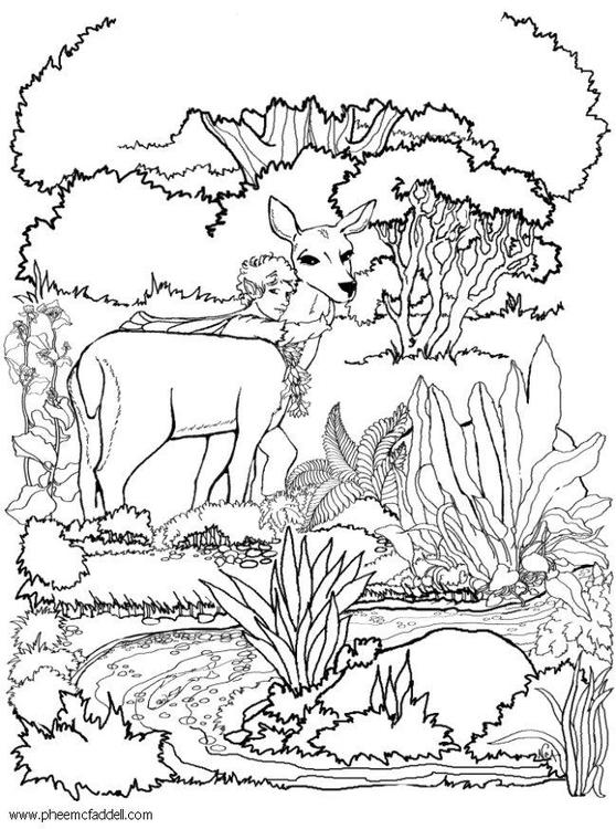 Kleurplaat Fee Met Hert Afb 6099