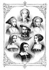 Kleurplaat Henry VIII met zijn 6 vrouwen