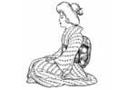 Kleurplaat Japanse vrouw - traditioneel gewaad