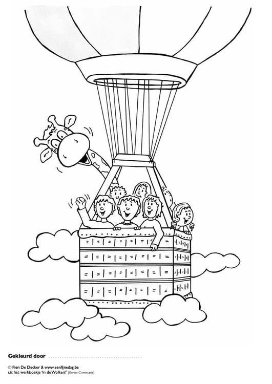 kleurplaat juul en zijn vrienden in een luchtballon