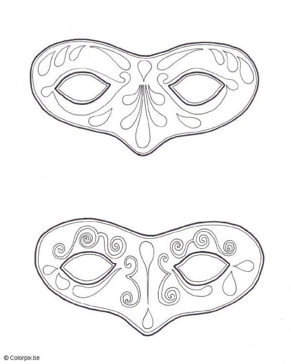 Kleurplaten Maskers Carnaval.Kleurplaat Maskers Afb 5667