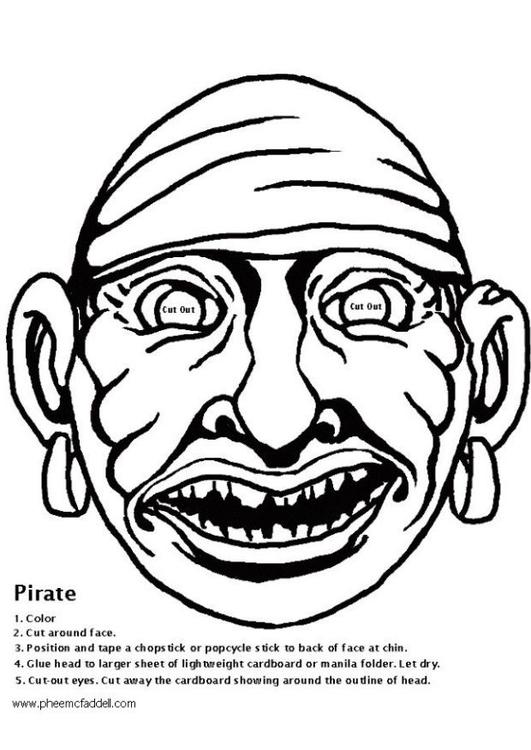 Kleurplaat Piratenmasker Afb 6112