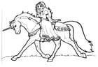 Prinses van Shamrock op eenhoorn