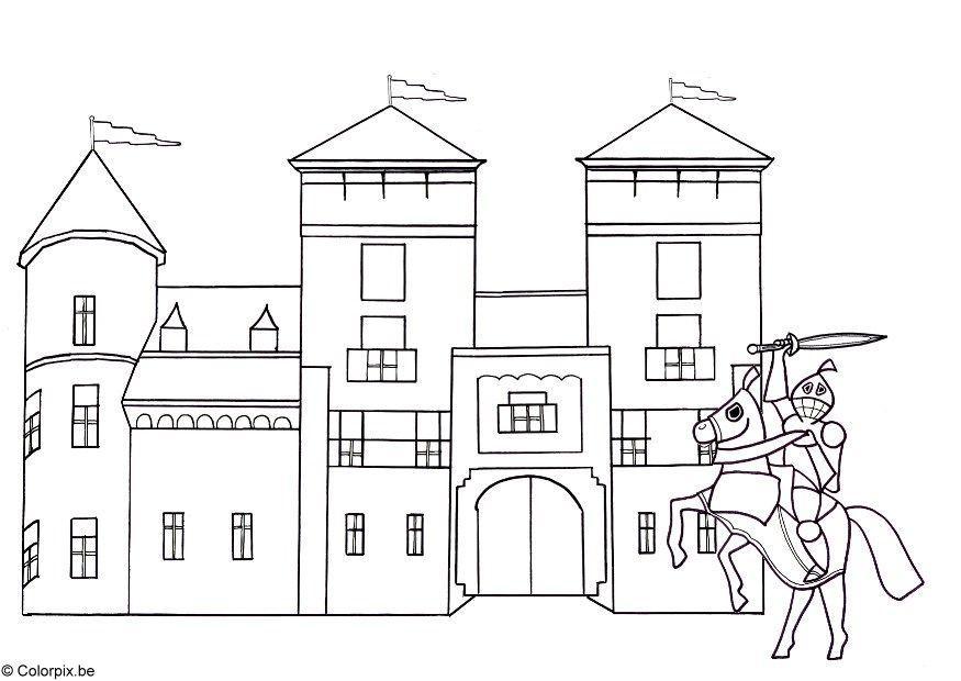 Ongebruikt Kleurplaat Ridder en kasteel. Gratis kleurplaten om te printen. YW-04