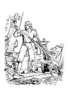 Kleurplaat Robinson Crusoë - schipbreukeling