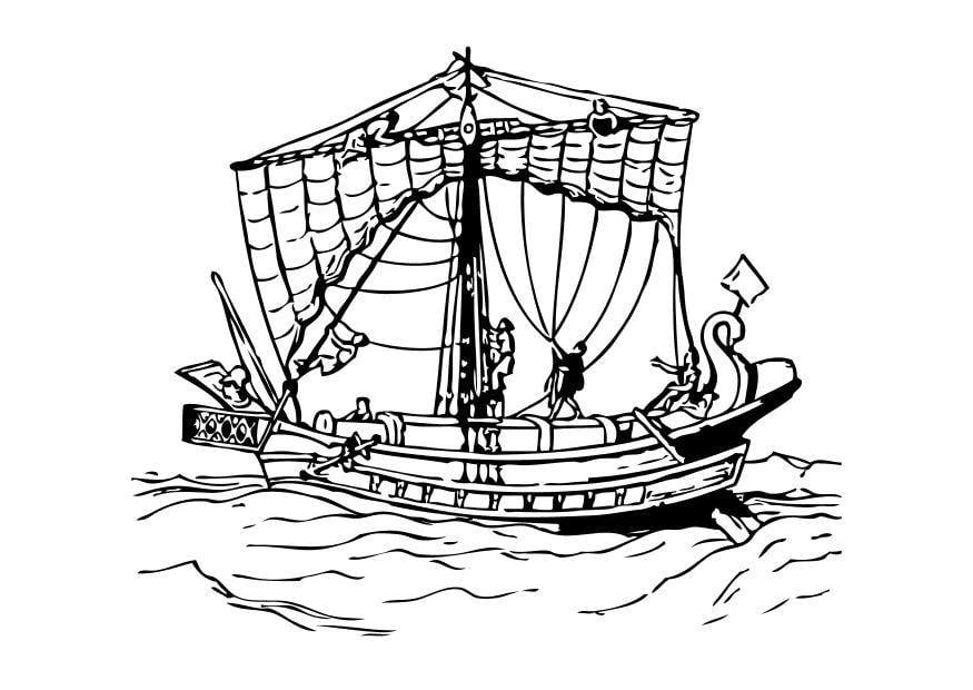 Kleurplaat Romeinse Boot Afb 10501