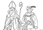 Kleurplaat Sint en piet