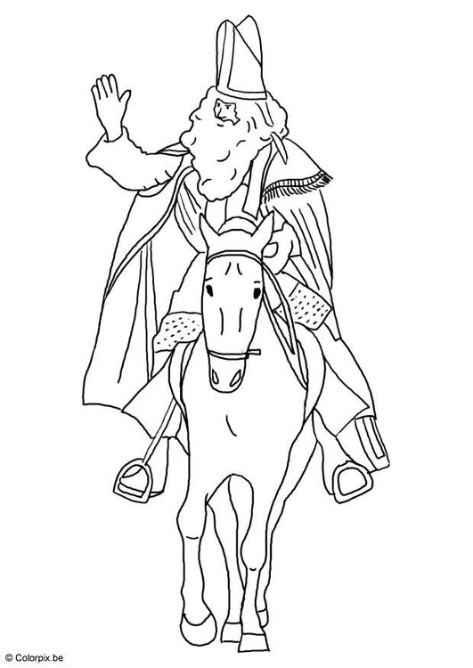 Kleurplaten Van Sinterklaas Zijn Paard.Kleurplaat Sinterklaas Op Zijn Paard Afb 8751