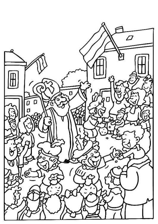 Kleurplaten Sint Maarten Zwarte Piet.Kleurplaat Sinterklaas En Zwarte Pieten Afb 8187