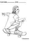 Kleurplaat Skateboarden cool