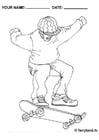 Kleurplaat Skateboarden