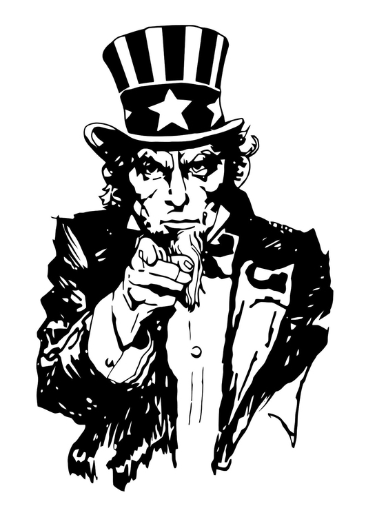 Kleurplaat Uncle Sam