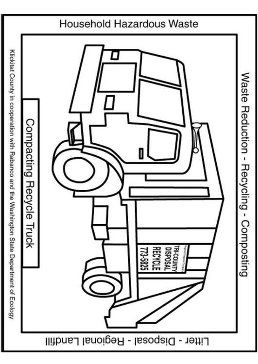 kleurplaat vuilniswagen afb 6048