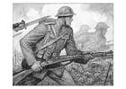 Kleurplaat WWI scene