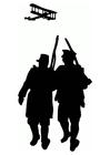 Kleurplaat Wereldoorlog I silhouet