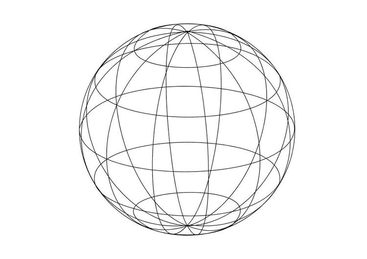 kleurplaat aardbol afb 15633