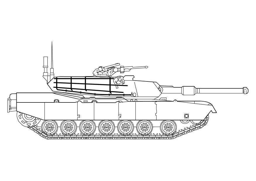 Kleurplaat Militair Kleurplaat Abrams Tank Afb 10142