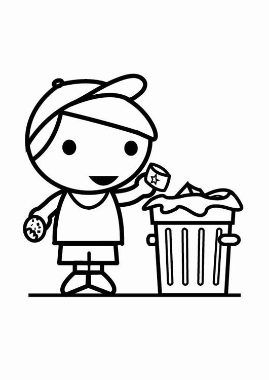 kleurplaat afval in de vuilbak gratis kleurplaten om te