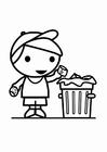 Kleurplaat afval in de vuilbak