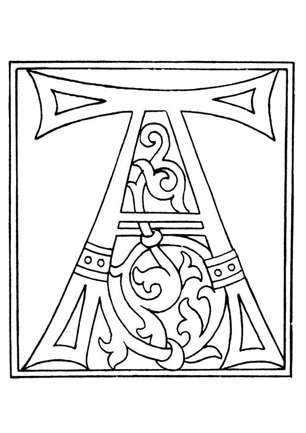 Kleurplaat 01a alfabet A Afb