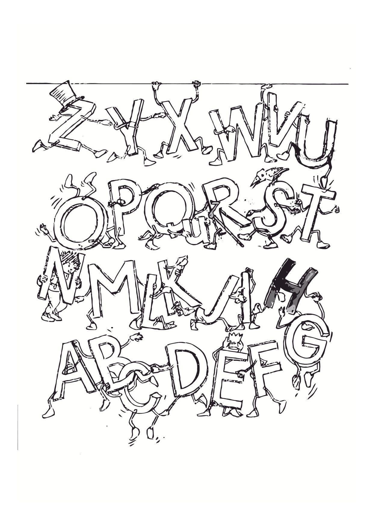 Inspirerend Kleurplaten Van Alfabet Met Gekke Letters