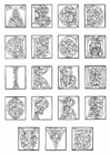 Kleurplaat 01a. alfabet einde 15e eeuw