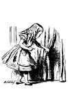 Kleurplaat Alice in Wonderland - Alice met sleutel