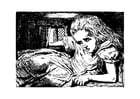 Kleurplaat Alice in Wonderland - in konijnenhuis