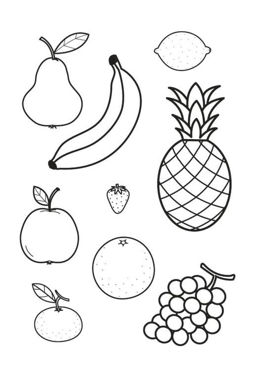 Kleurplaten Van Fruit.Kleurplaat Alle Fruit Samen Afb 23178