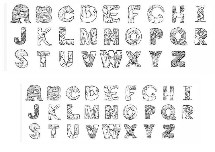 kleurplaten van alfabet dieren