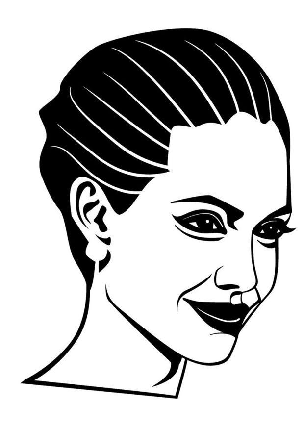 Kleurplaat Angelina Jolie Afb 24680