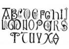 Kleurplaat anglosaksisch alfabet 8e en 9e eeuw