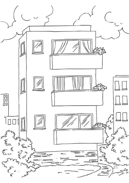 Kleurplaat Appartement Afb 26228