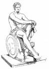 Kleurplaat Ares, een griekse god