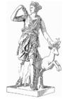 Kleurplaat Artemis, godin uit de Griekse mythologie