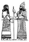Kleurplaat Assyrische koning