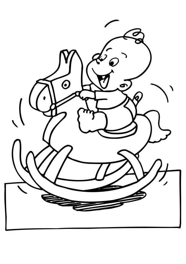 kleurplaat baby op schommelpaard gratis kleurplaten om te
