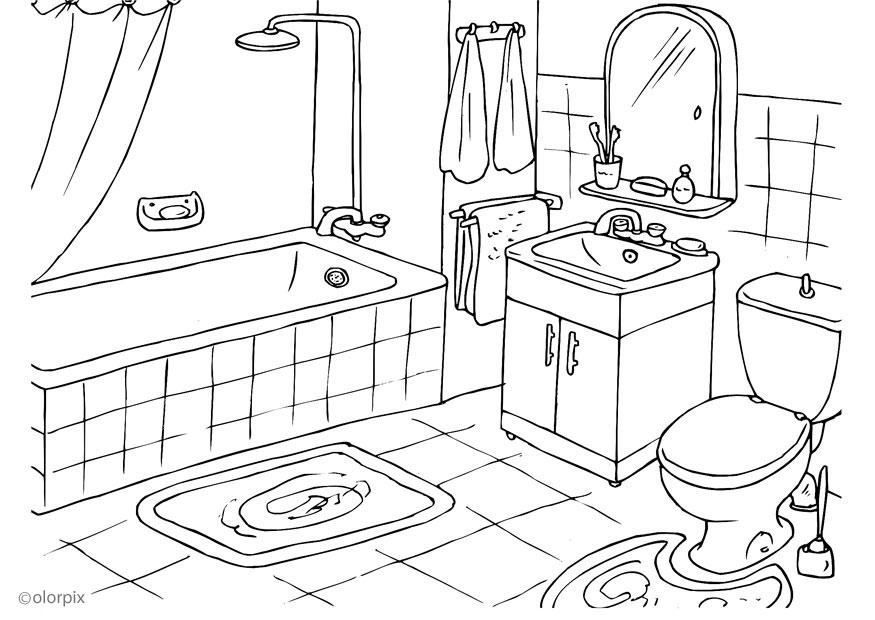 Imagenes De Un Baño Sucio:Bathroom Coloring Pages
