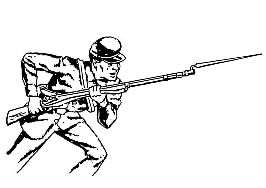 Kleurplaat Militair Kleurplaat Bajonet Afb 18871