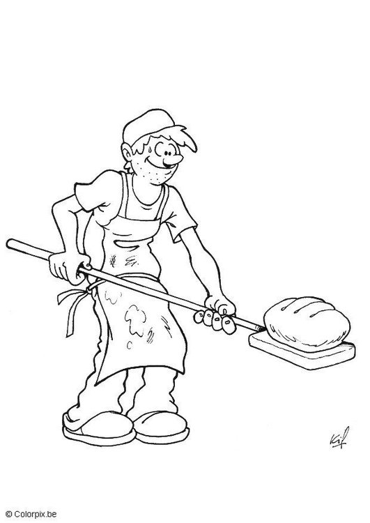 Kleurplaat Bakker Brood Afb 5694