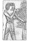 Kleurplaat bas relief egypte